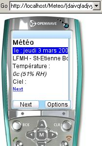 Exemple de projet : publication de la météo sur un téléphone mobile...
